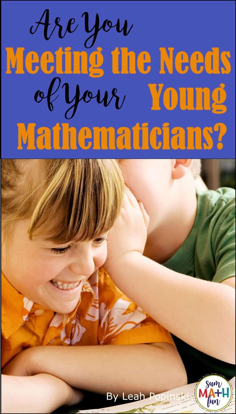 Meeting the Needs of Young Mathematicians