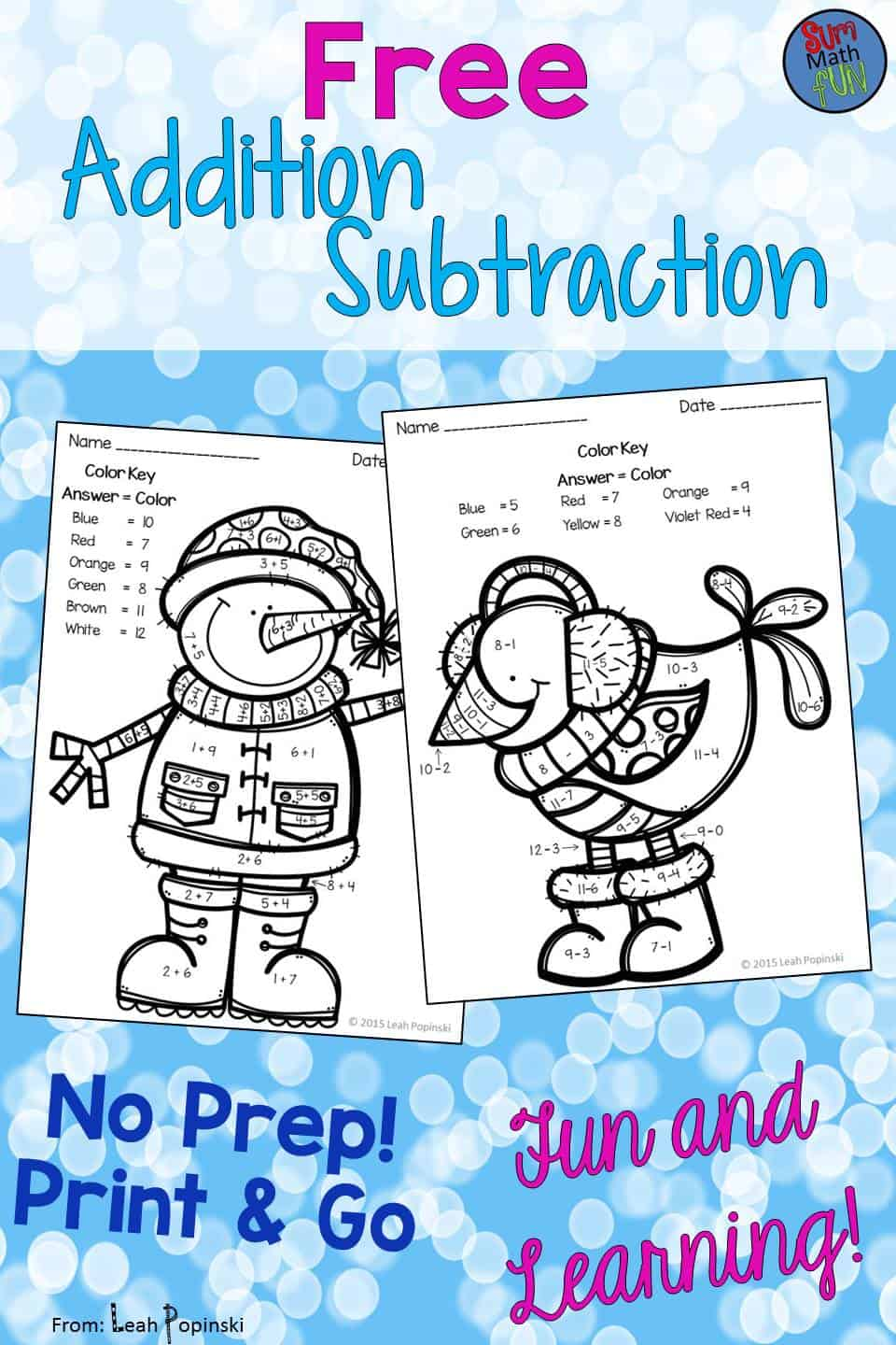 {Free} Winter Worksheets - Addition & Subtraction