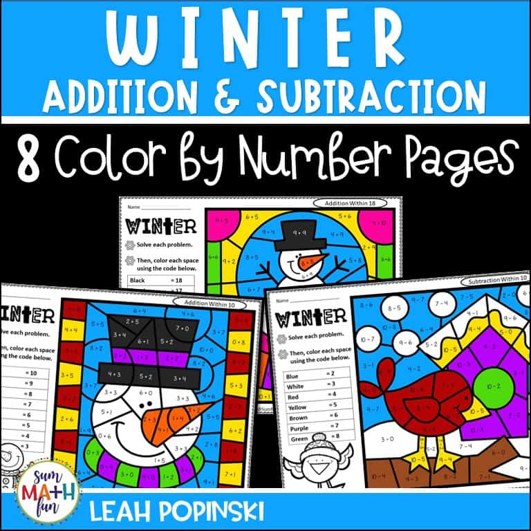 addition-subtraction-coloring-pages-winter #addition #subtraction #coloringpages #firstgrade