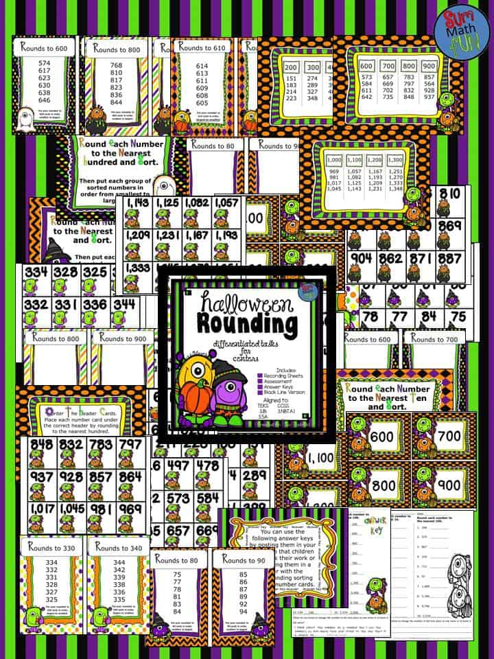 halloween activities third grade place value rounding sum math fun. Black Bedroom Furniture Sets. Home Design Ideas