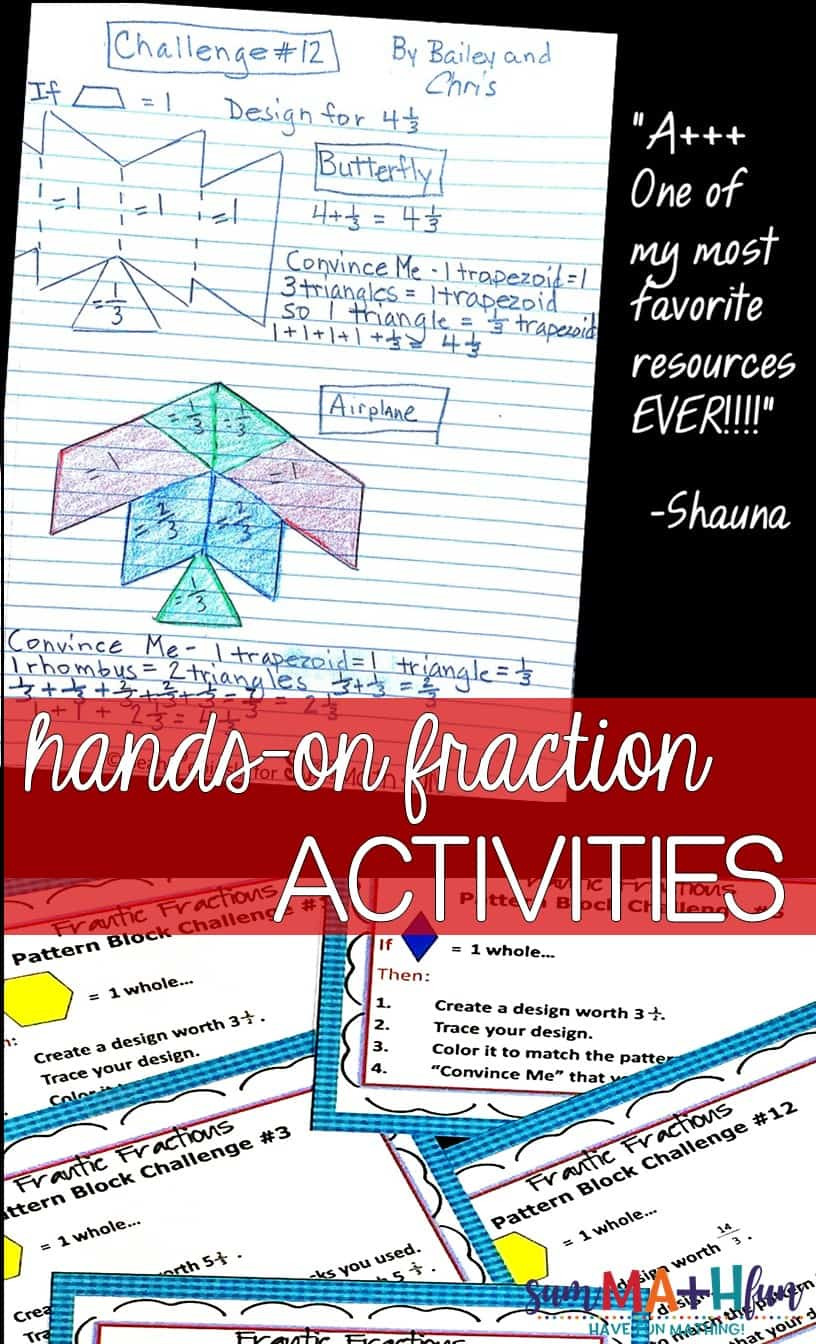 Equivalent Fraction Activities - Hands On Task Cards with Pattern Blocks