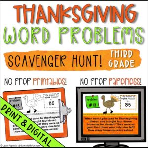 Thanksgiving-scavenger-hunt-3rd-word-problems #mathscavengerhunt #Thanksgivingwordproblems #Thanksgivingproblemsolving
