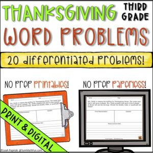 Thanksgiving-word-problems-differentiated-multi-step-problem-solving #wordproblems #3rdgrademath #thanksgivingactivity
