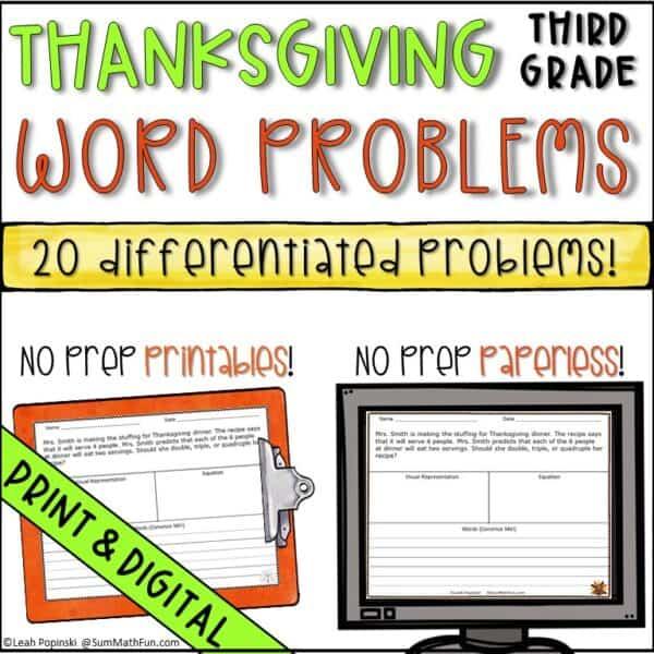 Thanksgiving-word-problems-differentiated-multi-step-problem-solving #wordproblems #3rdgrademath #thanksgivingactivity