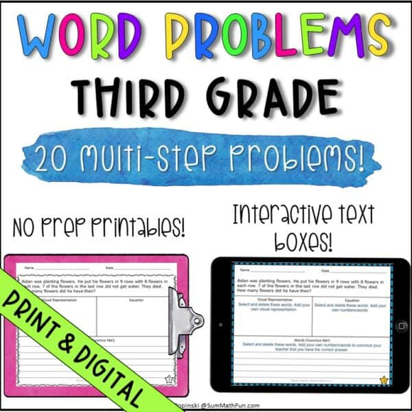 digital-word-problems-problem-solving-differentiated-multiple-operations #digitalwordproblems #mathactivites