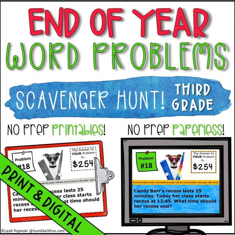 End Of Year 3rd Grade Math Scavenger Hunt - Sum Math Fun