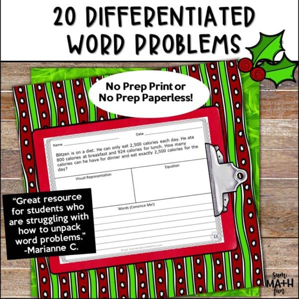 Christmas-word-problems-differentiated-multi-step-problem-solving #wordproblems #3rdgrademath #christmasactivity
