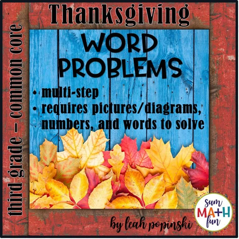Thanksgiving Word Problems for Third Grade Differentiated - Sum Math Fun