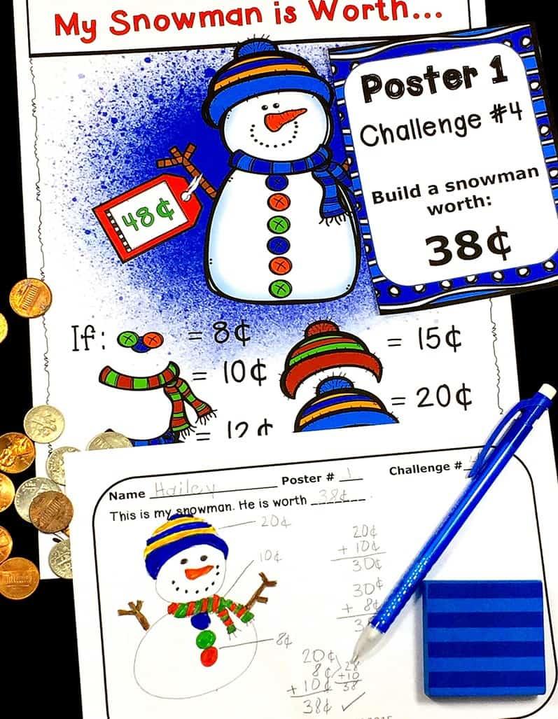 money-center-winter-2nd-3rd-grade-extension-math-task-cards #teachingmoney #buildasnowman