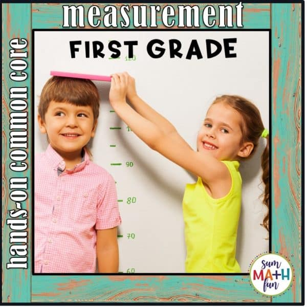 "Fun, cute non-standard measurement for your first graders! Students love ""measuring the room"" as they practice all first grade measurement standards using creative worksheets that go along with these hands-on activities. #firstgrademath #measurement #measurementactivities"