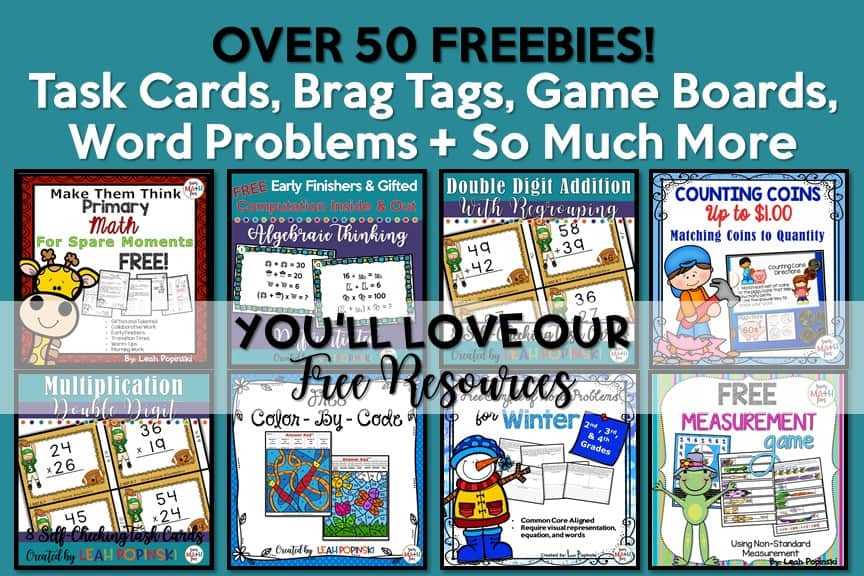 Free! Over 50 resources in our Sum Math Fun Free Teacher Resource Library.