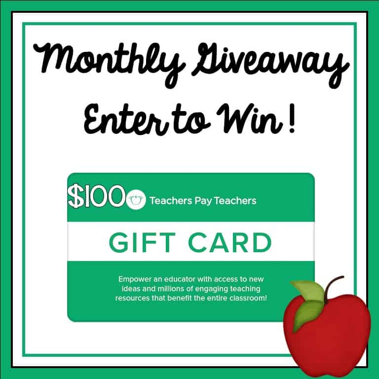 Giveaway! $100 TpT Gift Certificate for all your teaching worksheets and teaching activities. #giveaway #tptgiveaway