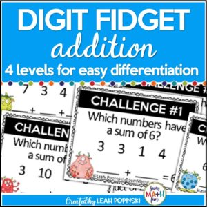 Tired of addition worksheets? Digit Fidget Task Cards apply logical reasoning to addition! They are super engaging with tons of addition practice and mathematical thinking! Your kids will be thrilled to practice their addition facts in a different way as they think, reason, and fidget with the digits! So much learning fun and perfect to energize your Number Talks! Super cute monster theme!