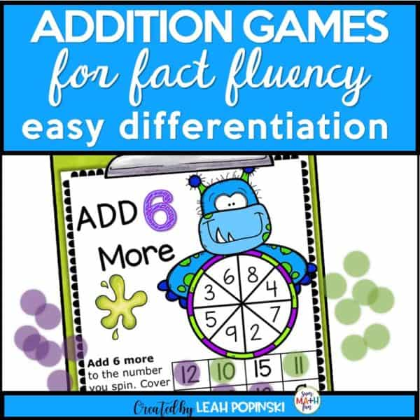 addition-games-halloween-monsters-first-fact-fluency #additiongames #halloweenmathgames #firstgrade