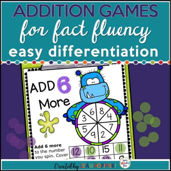 Halloween Addition Games for easy differentiation! 12 games for the facts +1 through +12. #addition #mathgames #1stgrade