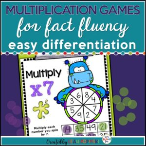 Halloween multiplication games for easy differentiation. Perfect for individualized seat work and homework. #multiplication #3rdmath