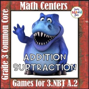 Third Grade Math Addition and Subtraction Math Centers-cute dinosaur theme