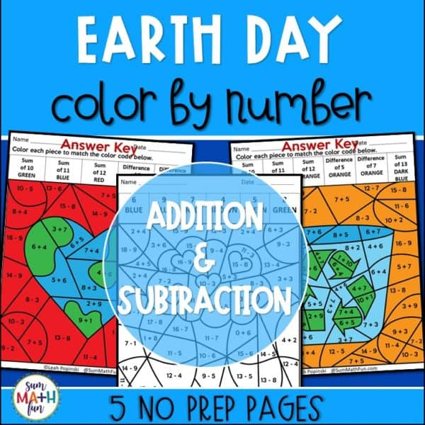 earth-day-color-by-number-first-grade-2nd-math #earthday #earthdayactivities #earthdaycolorbynumber