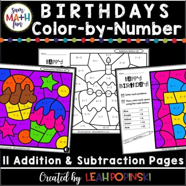 birthday-color-by-number-addition-subtraction #birthday #colorbynumber #addition #subtraction