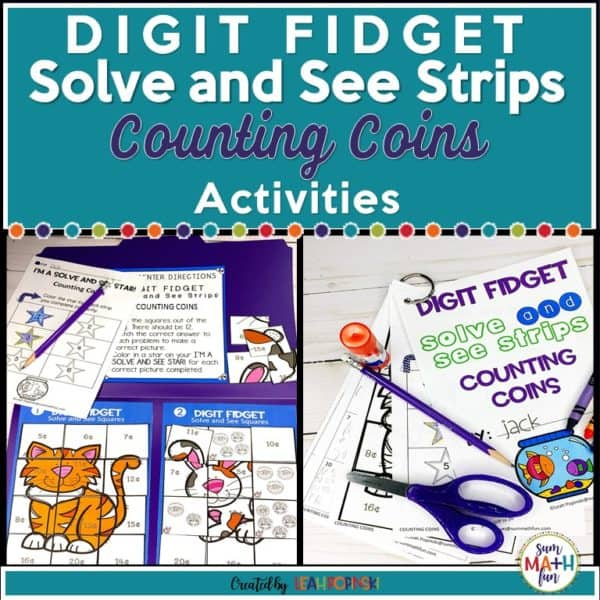 Counting Coins Solve and See Strips are engaging and fun worksheets for practicing money skills. Very motivational! #countingmoney #countingcoins