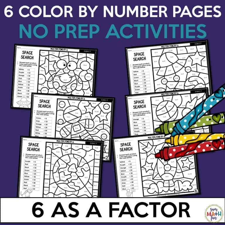 Multiplication Worksheets - Using 6 as a Factor - Sum Math Fun