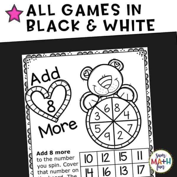 Valentine Addition Facts Games