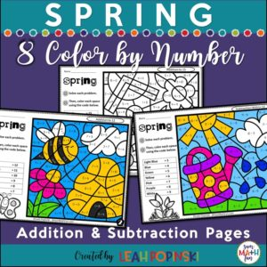 spring-color-by-number-addition-subtraction #spring #colorbynumber #addition #subtraction