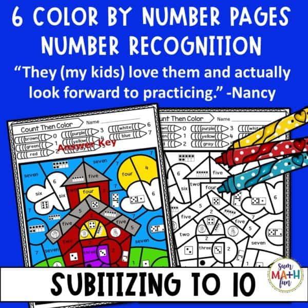subitizing-color-by-number-recognition-activities-ten-frames #subitizing #numberrecognition #kindergarten #firstgrade