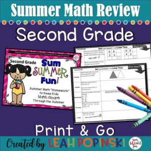 summer-second-grade-math-packet #secondgrade #summer #math #packet