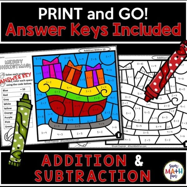 addition-subtraction-color-by-number #addition #subtraction #colorbynumber