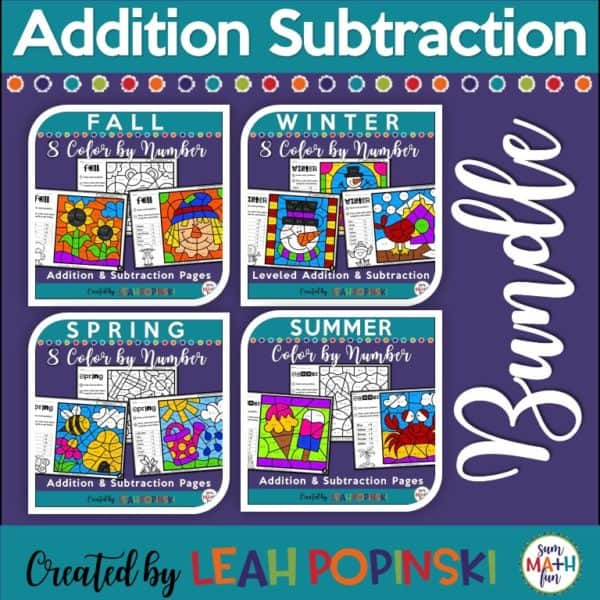 Addition and Subtraction Worksheets for the Year Bundle Seasonal