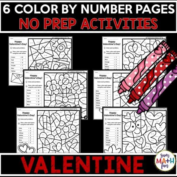 valentine-addition-subtraction-color-by-code #valentine #addition #subtraction #colorbycode