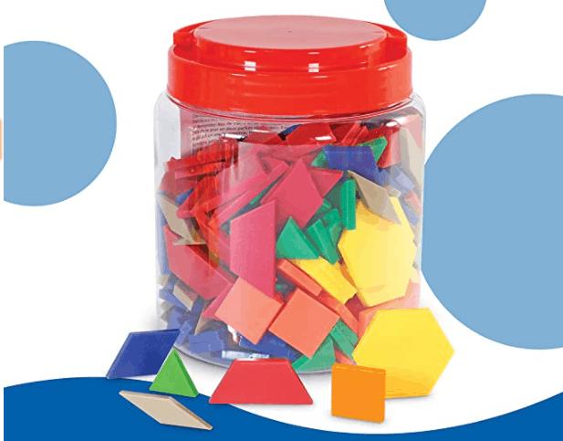 Plastic Pattern Blocks for Fraction Work
