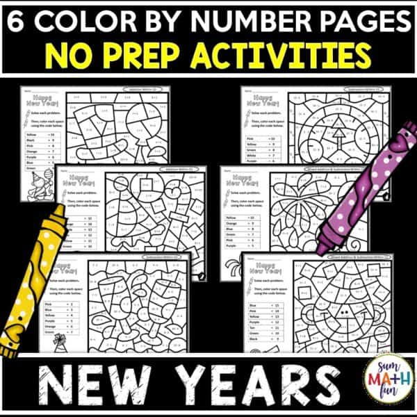 New-Years-addition-subtraction-color-by-number-first-2nd #NewYears #NewYearsfirstgrade #NewYears2ndgrade