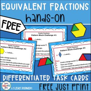 free-fractions-equivalent-hands-on-task-cards #equivalentfractions #handsonfractions